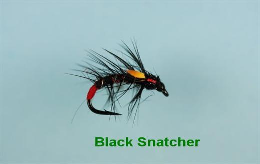 6 x Black Snatcher Fly Fishing Trout Flies
